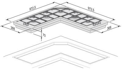 Foster Serie Quadra Angolare - 7238 042 - Gas-Kochfelder